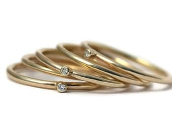 Handmade Gold Diamond Stacking Ring
