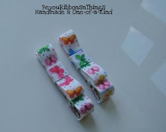 Butterfly Hair Clips for Girls Toddler Barrette Kids Hair Accessories Grosgrain Ribbon No Slip Grip