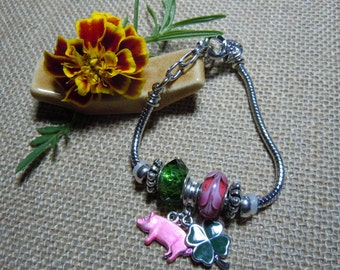 4-H Type Charm Bracelet with Pig and Clover Charms