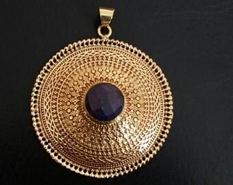 Amethyst   pendent tribalavtar pendent tribal Brass pendent ethnic pendent yoga jewellery brass pendent white brass pendent