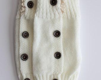 White Pair of Baby/Children's Knitted Leg Warmer Boot Cuffs