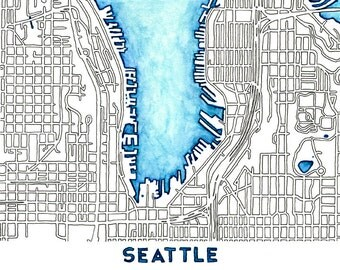 Seattle Watercolor and Ink Map / 8x10 / Lake Union Wall Art