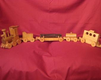Wooden Train, Wooden Train with 5 Cars, Wooden Train Set
