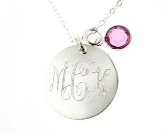 Personalized Monogram Sterling Silver Necklace - 3/4 inch (MNS002)