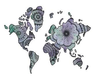 Zentangle Watercolour World Map Print