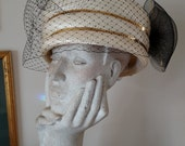 Vintage Off White Straw Pillbox Hat with Sequins Bling Kentucky Derby Tea Party Church Lady