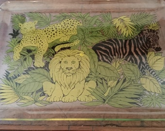 Acrylic Jungle Motif Tray/ Serving tray/ Lucite Tray 1970s 1980s
