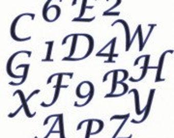 FMM Tappit Cutter: Upper Case Script Alphabet 2cm