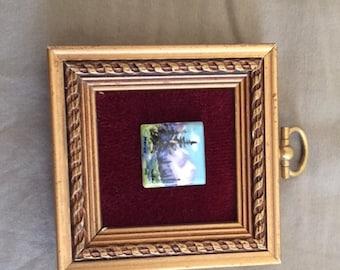 Vintage Framed Miniature Tile Painting