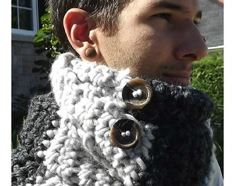 Foulard circulaire femme ou homme pure laine, pur wool, capuche, scarf, yarn, snood, gris, charcoal, grey.