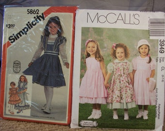 Uncut Girl's Dress Patterns Simplicity 5862 and McCall's 3949