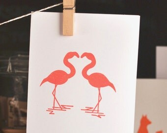 Flamingo Love, 5 notecards, Notecard Set, engagement notecards / thank you cards