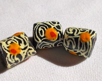 African Black/Orange/White Recycled Powdered Glass Krobo Beads Pack of 5 - Fair Trade from Ghana - Size 5mm approx