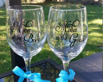 Mother of the bride and groom glass