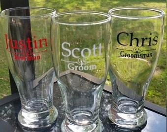 Groom, Best man, Groomsmen Party pilsner glasses