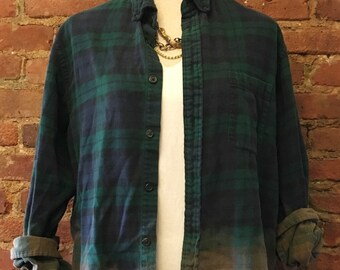Distressed Flannel, Ombre Bleached Flannel, Soft Grunge Flannel,Vintage Flannel, Oversized flannel, Cozy Flannel