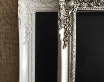 WHITE / SILVER CHALKBOARD - White Ornate Blackboard - White Framed Chalk Board - New Home Gift - Moving Present - Silver Home Decor