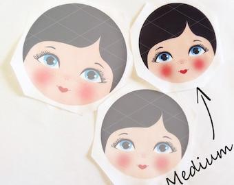 Babushka Matryoshka Cloth Face, Fabric Face, Doll making supplies, Medium