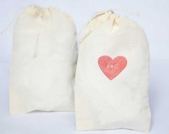 "Plain cotton muslin favor bags - set of 10 bags. 4x6"".  Party favor bag.  Name favor bag.  Drawstring bag.  Plain favor bags.  Fabric bag."