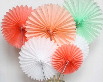 Set of 6 Tissue Paper Pinwheel Fans. Peach, coral, mint green and white pinwheels.  Rosette. Wall hanging decor. Party fan backdrop.