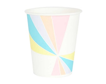 Pastel paper cups. Set of 8. Rainbow paper party cups.  Light pink paper cups.  Birthday paper cups.  Blue, yellow, and orange paper cups.