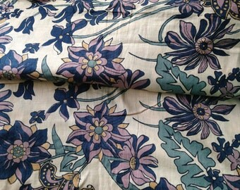 Indian Fabric, Foliage Print, Moss Green, Indian Cotton, Floral Print, Cream, Printed Cotton,Indian Fabric,Fabric by the yard, Nature Print