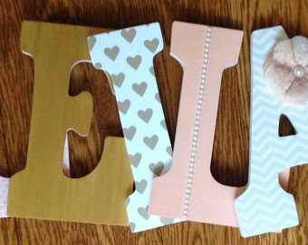 Letters for nursery, Peach and gold letters, Nursery letters, Custom wall letters, Peach and gold nursery decor.