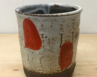 orange dot cup // handmade // ceramic tumbler // polkadot