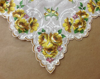 Hand Printed Yellow floral motif Handkerchief Made in Philippines
