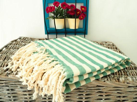 Emerald Green Stripe Turkish Towelgreen Cotton Towelgreen