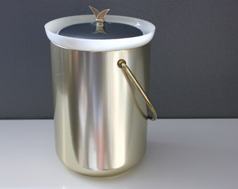 Vintage Mid Century Kromex Ice Bucket Gold and Silver Metal