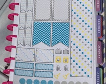 Cheerful Chevron and Polka Dot Weekly Layout Kit 35 Stickers for MAMBI Happy Planner Flags Side Bar Boxes Reminders Trackers F22