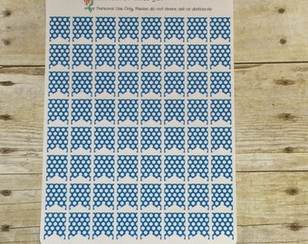 Planner Stickers Small Flags Blue and White Polka Dots F133