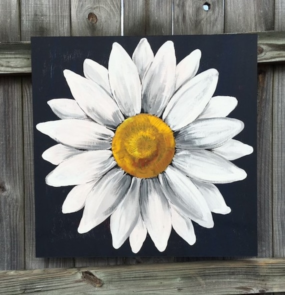 Large dark blue black and white daisy painting on wood panel for White canvas to paint