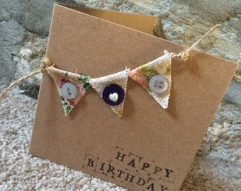 Bunting birthday or any occasion card handmade