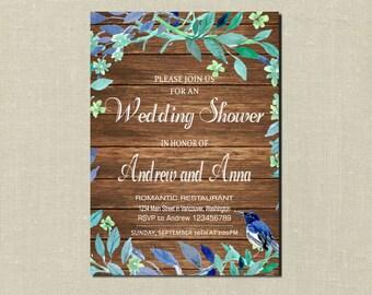 Rustic Wedding Shower Invitation, Printable Wedding Shower Invitation, Wedding Shower Invitation Vintage