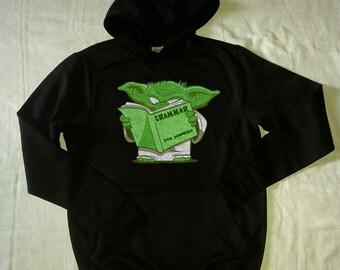 STAR wars hoodie star wars sweatshirt yoda hoodie grammar for dummies black gray MEN'S WOMEN'S