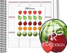 25 Fruit Stickers in 5 Designs | Planner Erin Condren Plum Planner Filofax Sticker