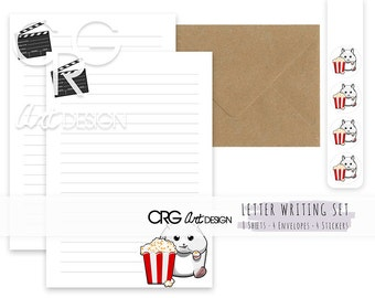 Popcorn Hamster Letter Writing Set | Snailmail Penpals Stationery