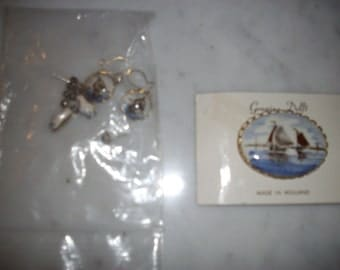 Vintage Sterling Blue Delft Pin and 3 pairs earrings