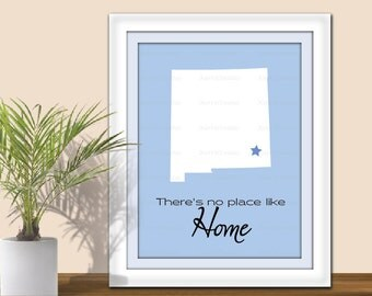 State Art, There's no Place Like Home - Digital Wall Art. Star over City. Printable. State Print. All States and Countries available