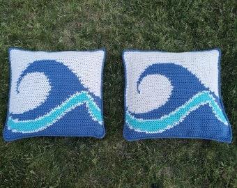Crochet Ocean Wave Pillows