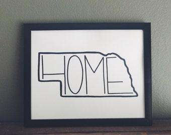 Digital Download Print, Nebraska Home Print, Art Print, Handlettered Art Print