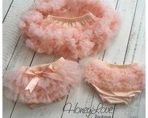Peach - Pettiskirt - Tutu Skirt Bloomer - Ruffle Bottom Bloomer diaper cover - baby girl cake smash, birthday outfit, newborn photo prop
