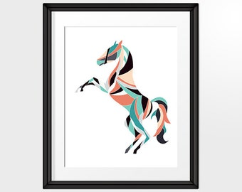 Horse Lovers, Prancing Horse Print in Teal, Orange and Black, Wall Art Printable, Geometric Art, Home Decor, INSTANT DOWNLOAD