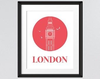 Travel Art, Big Ben Print, London Print, London Art, Red Circle, Printable Art, INSTANT DOWNLOAD