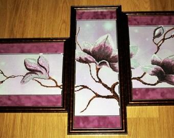 """ORIGINAL TRIPTIH """"Flowers Magnolias """""""