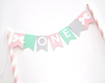 Cake Bunting Topper 1st Birthday ONE Pink Mint Grey and white