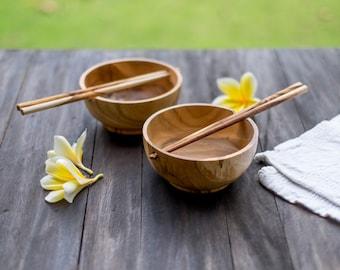 Japanese Wooden Bowl and Chopsticks   Teak Wood Bowl   Rice Bowl   Noodle Bowl   Asian Style Bowl   Japanese Bowl   Asian Kitchen Decor Gift