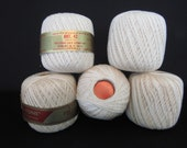 "Crochet Thread Lily ""Glo-Tone""  5 Rolls Art. 42 Color #4 Natural Boilproof 4 ply 250 Yards/spool Vintage"